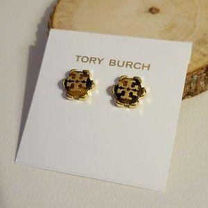 Tory Burch tortoise flower stud earrings